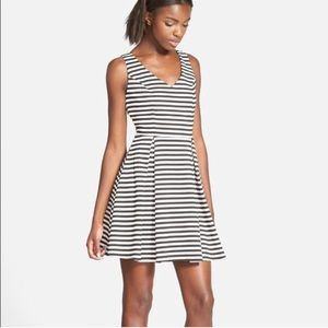 Soprano Black and White Striped Skater Dress